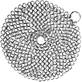 "Alpha Living Cast Iron Scrubber - High Grade Stainless Steel Scrubber - Cast Iron Chainmail Scrubber 7"" Round"