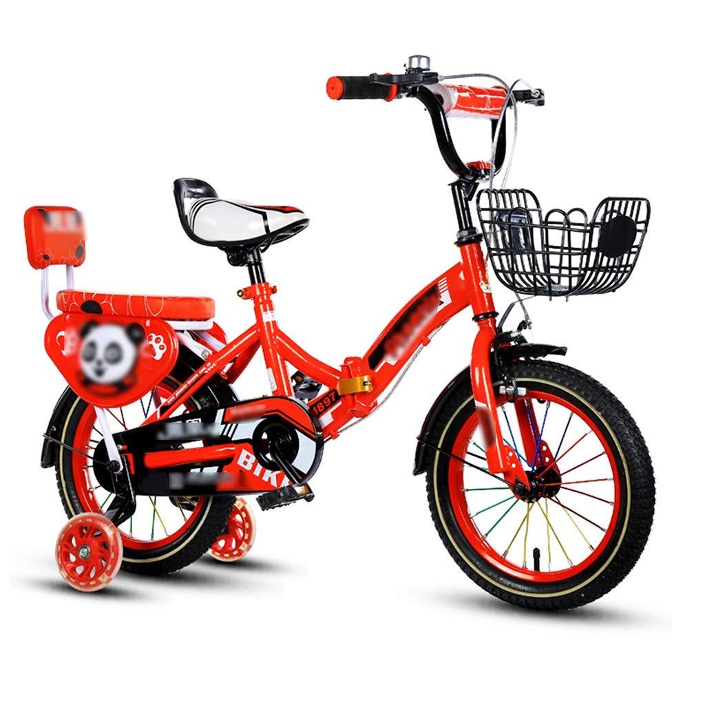JianMeiHome Bicicletta per Bambini Bicicletta Pieghevole per Bambini Bicicletta Pieghevole per Bambini 2-12 Anni con Ruota ausiliaria (Dimensione   16)