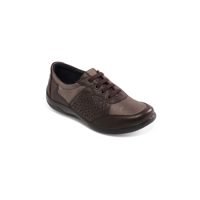 Padders cuero de las mujeres del zapato 'Harp' | con sistema de ajuste anchura doble | Gran Anchura adicional EE-EEE| Cuerno de zapato libre 40 EU|marrón
