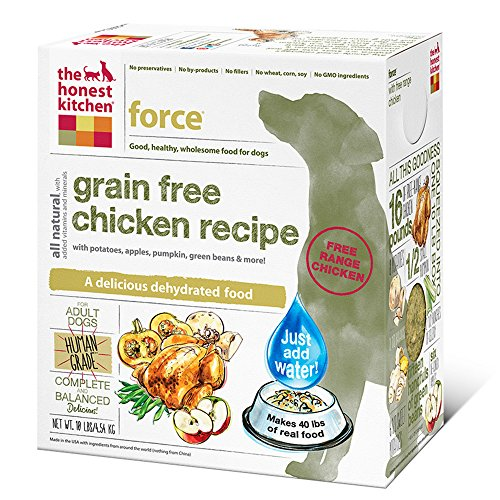 The Honest Kitchen Force Grain Free Dog Food - Natural Human Grade Dehydrated Dog Food, Chicken, 10 lbs (Makes 40 lbs)
