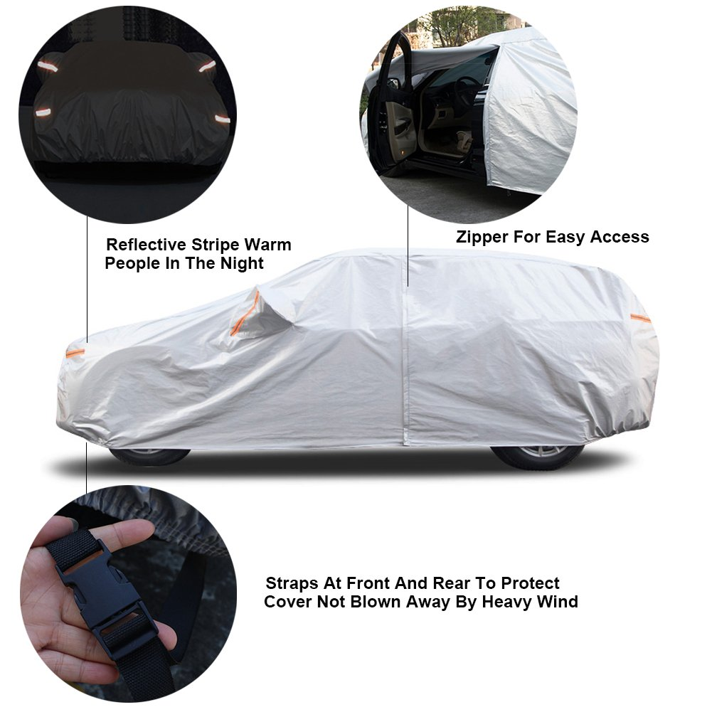 3XL 182 to 193 Kayme Four Layers Waterproof All Weather Car Covers with Cotton Zipper Sun Uv Rain Protection for Automobiles Indoor Outdoor Fit Sedan