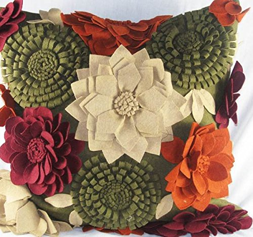 Design Accents Felt Pillow - 20 x 20 in. with One Bloom ()