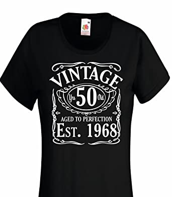 Vintage Since 1968 50th Birthday Gift Funny LadiesWomans Cotton T Shirt S 10 Black Amazoncouk Clothing