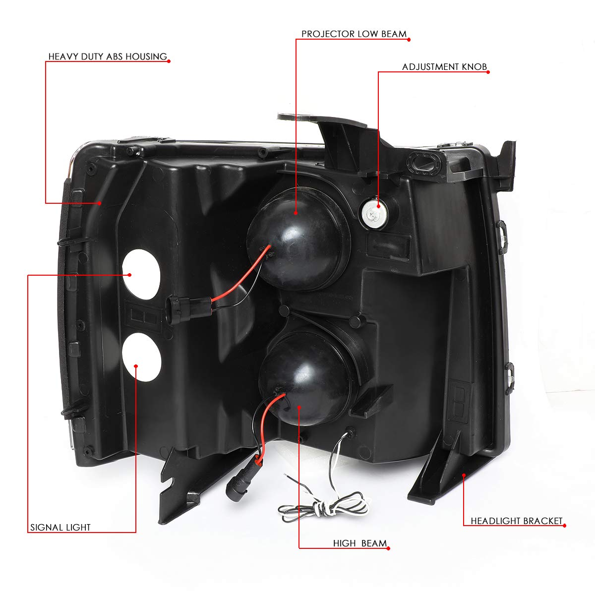 DNA Motoring HL-HPL-CSIL07-G2-BK-CL1 Dual LED DRL Projector Headlight//Lamp For 07-14 Chevy Silverado