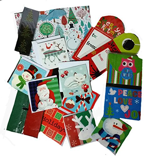 35+ Piece Gift Wrap Set ~ Christmas Holiday Wrapping Tissue Paper Gift Card Holder Bag, Etc.. (Gift Baskets International Christmas)