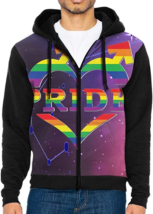 JINYIPI Hoodies For Men Gay Pride In Heart Shape and Arrows Full Zip Fashion Athletic Printed Sweatshirt Pullover Jackets