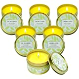LA BELLEFÉE Citronella Candles, 2.5oz Natural Scented Soy Wax Portable Travel Tin Candle Set, 15 Hour Burn, Outdoor and Indoor 6-Packs