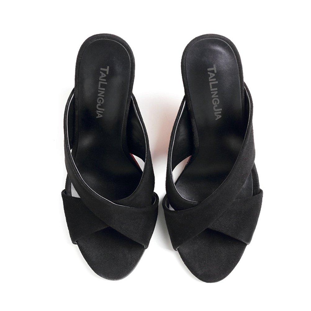 HN Schuhes Damen Wedge Wedge Damen Sandalen Keilabsatz Sandaletten schwarz 3c9679
