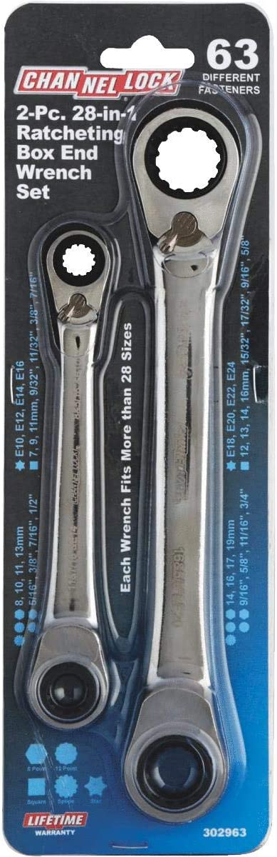 Channellock Products 2 Piece 28-in-1 Universal Ratcheting Box Wrench Set