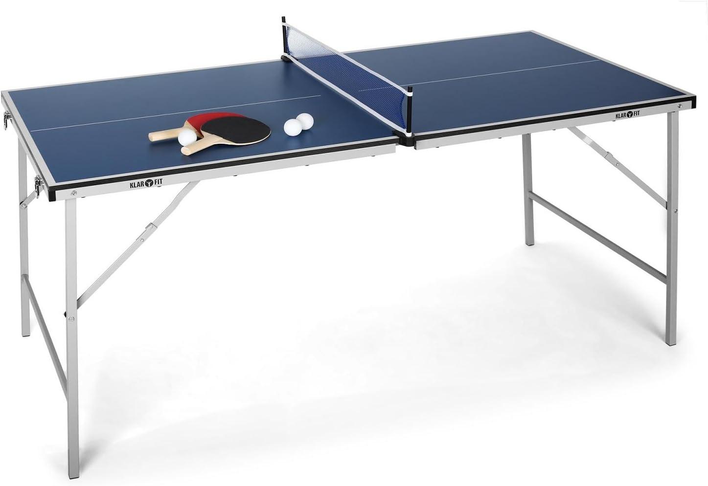Klarfit King Pong Mesa de Ping-Pong Plegable (Recubrimiento Resistente a Golpes, fácil Montaje y Transporte, Incluye Dos Palas y Tres Pelotas, Red, Tenis de Mesa)
