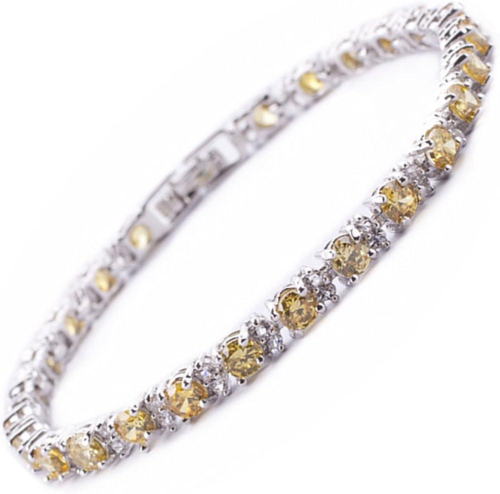 Riva oro de la joyería de la piedra preciosa piedra del corte redondo fino de 18 quilates blanco plateado Pulsera de tenis elegancia moderna