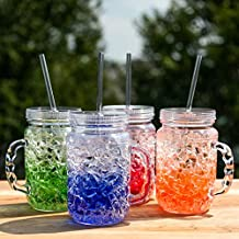 Lily's Home Double Wall Gel Freezer Mason Jars with Lids and Straws. 18 Oz each - Set of 4 in Blue, Red, Orange and Green