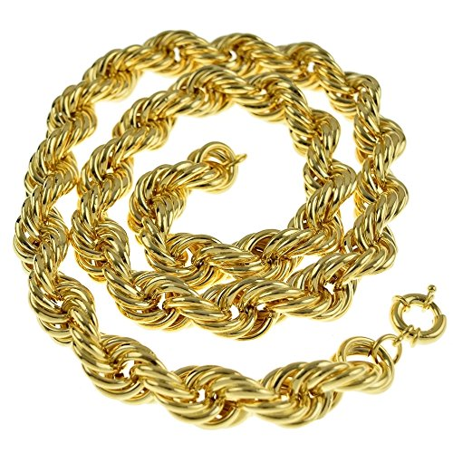 Hollow Rope Chain 20mm Thick 14K Gold Plated Old School Style Hip Hop Dookie 36 In ()