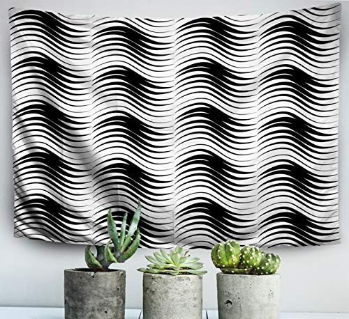 (Shorping 60x50 Inches Home Wall Art of Cotton Tapestries Hanging for Dedroom Living Room Dorm,Abstract Line Pattern Wave Texture Surface Grid Wallpaper)