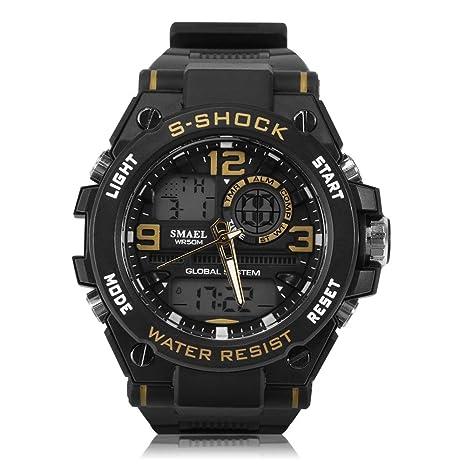 Reloj Redondo 3 Colores Reloj Deportivo Analógico y Digital con Pantalla Dual y Correa Plástica(