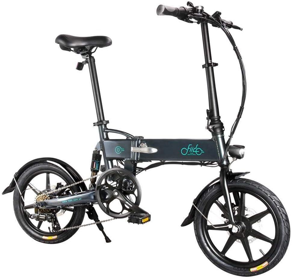 GoZheec Bicicleta eléctrica FIIDO D2S Neumáticos de 16 Pulgadas Bicicleta eléctrica Plegable con Motor de 250 W Máx. 25km/h Shimano 6 velocidades Shift 7.8Ah Batería para Adultos. (Gris): Amazon.es: Deportes y aire