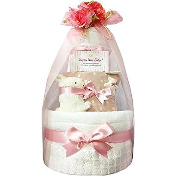 e739a6a666825 おむつケーキ 今治タオル オーガニック 出産祝い 女の子 2段 4101(出産祝い)