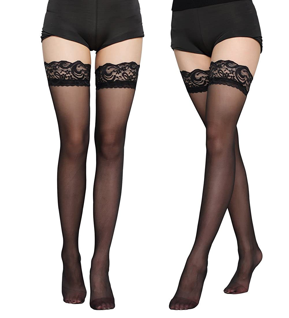 eebe43b63 Recommended for US Women Sizes 6 to 9. Sheer thigh high stockings with stay  up silicone lace top. Ultra-sheer and Transparent toe