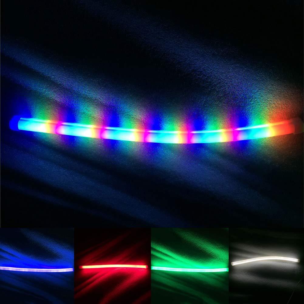 White 45cm LAPUTA Car Strip Light Other Light Strip Light 2Pcs LED Car DRL Daytime Running Lamp Flexible Soft Tube Strip Light Decoration