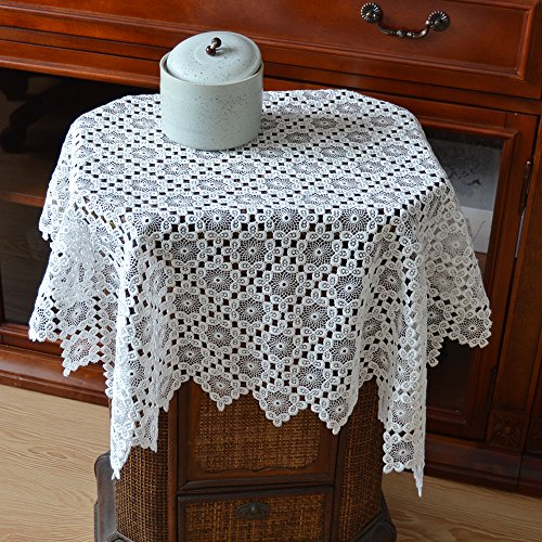 Merryfeel Tablecloth, Luxury Embroidery Lace Table Cover White 34 x 34 Inch (Square Table Cloth Lace)