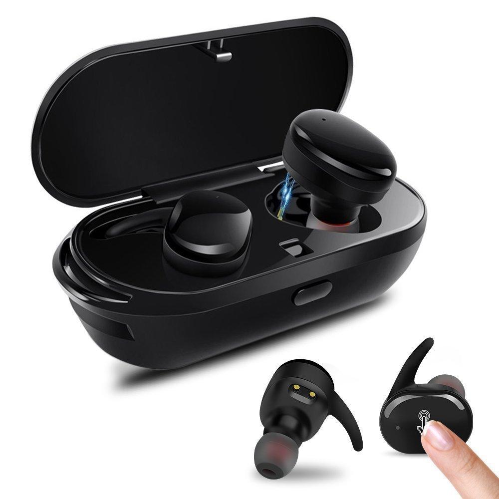 PZX Bluetooth イヤホン【タッチ型】左右分離型 片耳でも両耳でも使用可能 高音質 マイク付き 超軽量 Bluetooth4.2 ワイヤレス ブルートゥース 充電機能搭載収納ケース iPhone Android対応 (ブラック)