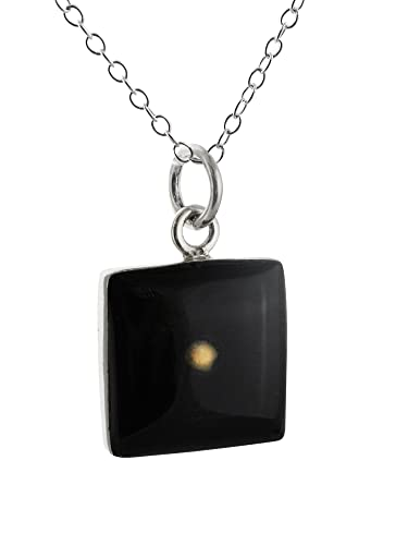 Sterling Silver Square Mustard Seed Pendant Necklace 18 Black