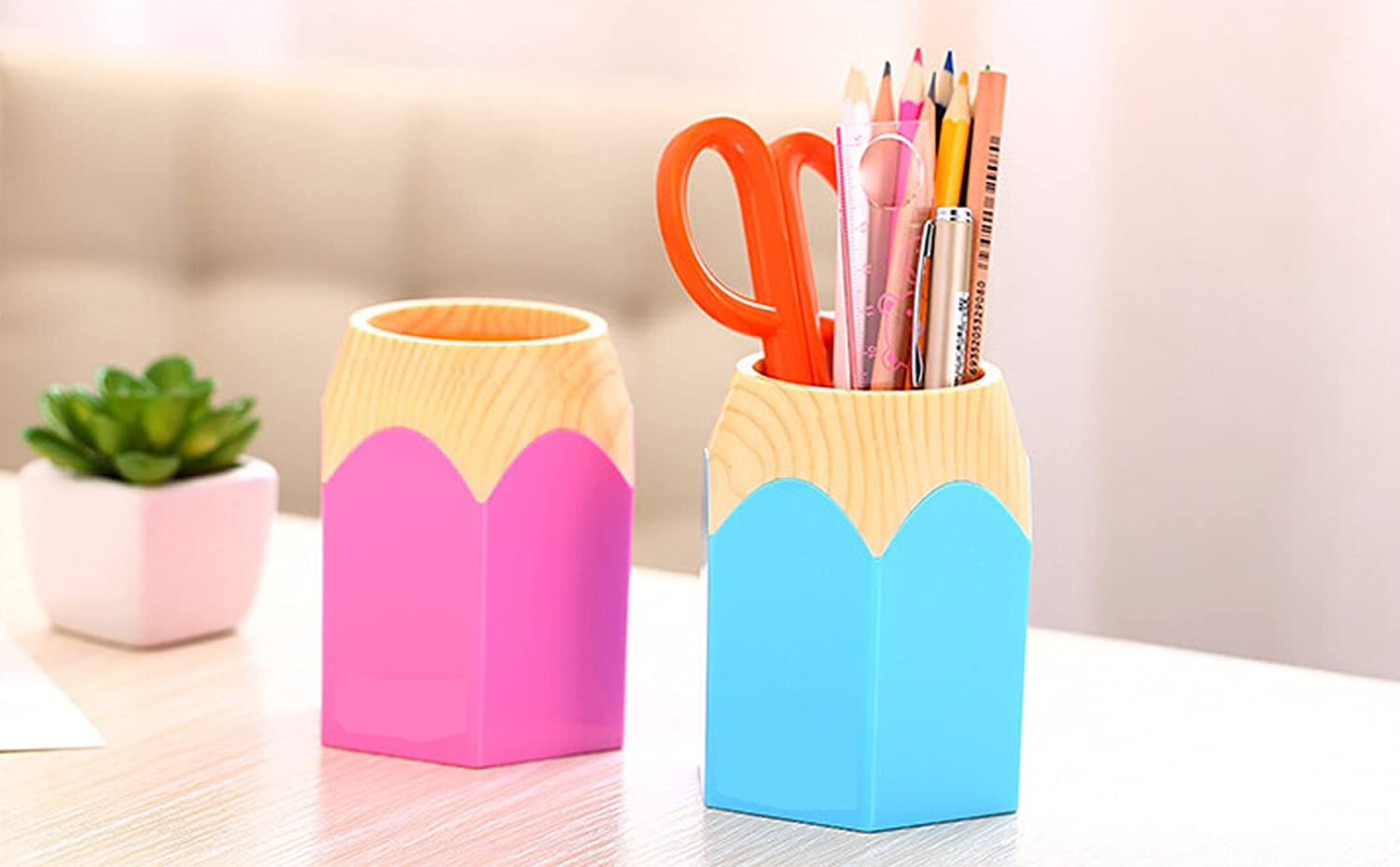 Amazon.com : Pencil Stub Shape Plastic Pen Holder Cup Stand Pencil Pot  Holder Container Organizer for Pens, Utensils, Office Supplies Caddy, ...