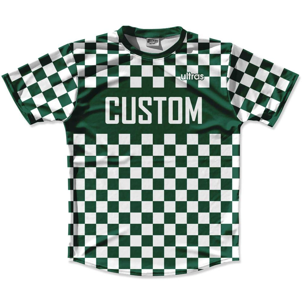 Forest Green /& White Custom Checkerboard Soccer Jersey