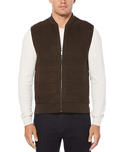 Perry Ellis Mens Faux Suede Sweater Vest At Amazon Mens Clothing Store