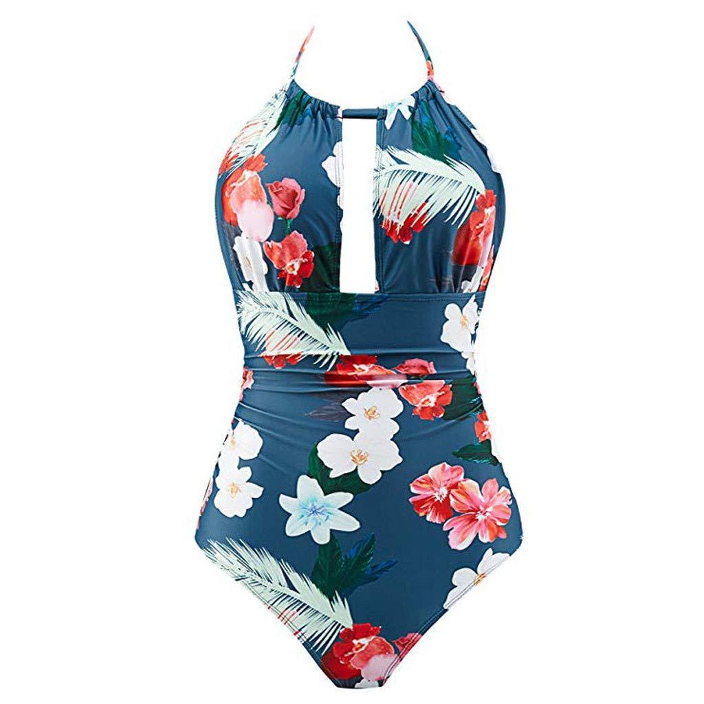 Nuewofally Womens One Piece Monokini Tummy Control Halter Tankini Swimsuits Bandage Padded Backless Bikini Bathing Suit