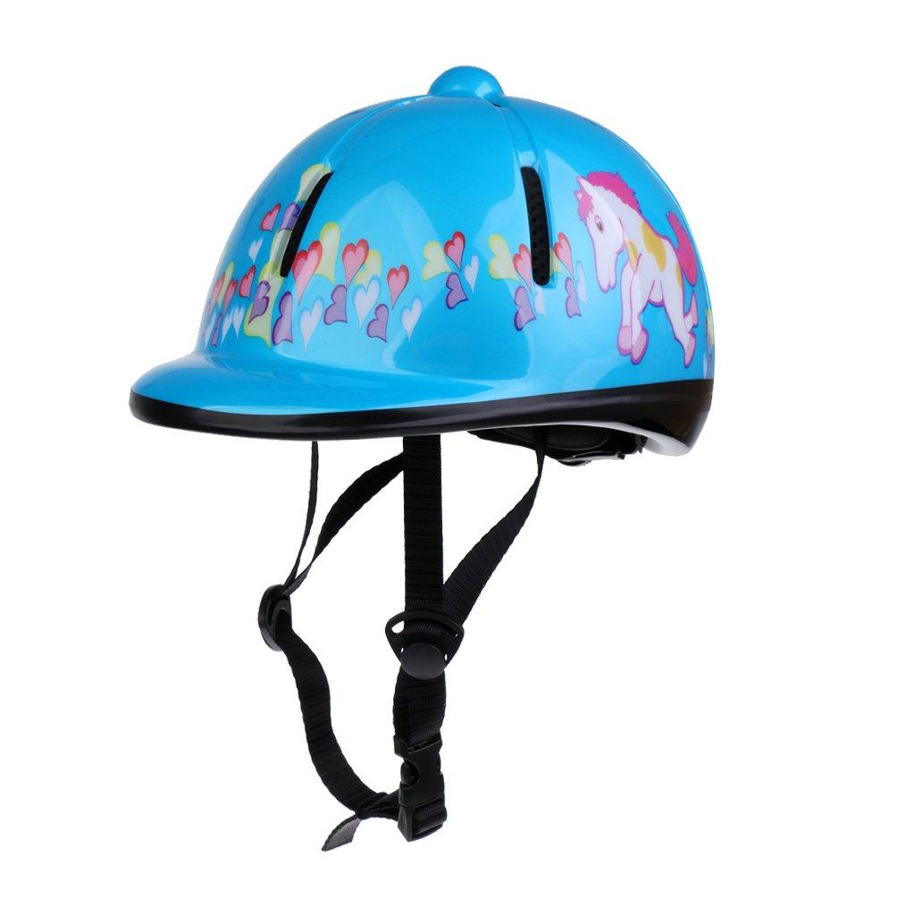 MagiDeal Casque Équitation Pour Enfant Coque Extérieure En PVC Équipement De Protection Cavalier - Bleu Clair, 48-54cm