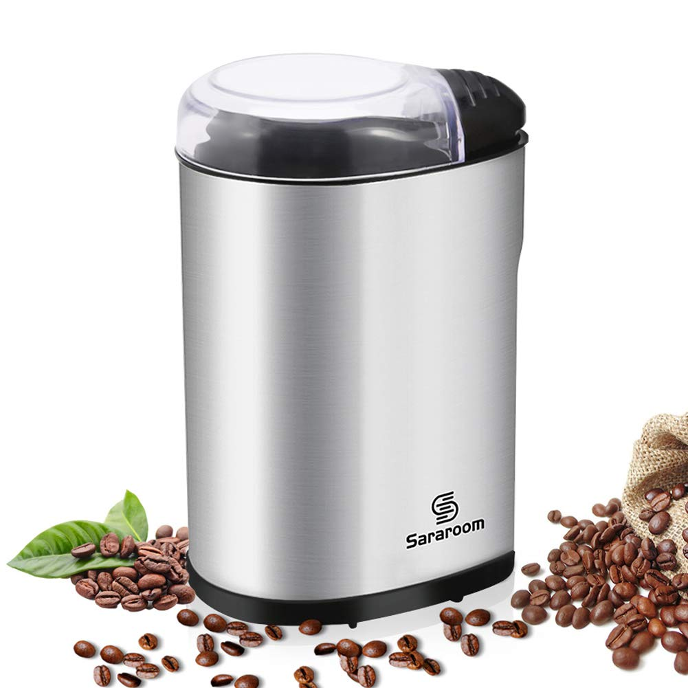 Electric Coffee Grinder, Sararoom Coffee Bean and Spice Grinder Mill 220V Low Noise DC Motor with Stainless Steel Body and Blades for Burr Spices, Coffee Bean, Nuts, Herbs, Grains and More