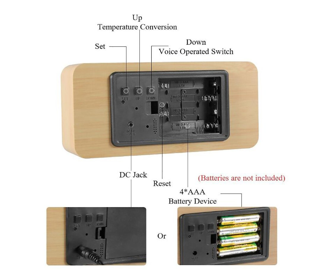 SXWY Despertador (Madera), Despertador Digital Temperatura Tiempo Despertador Multifuncional Brillo Ajustable Despertador De Madera Reloj Consola De Voz ...