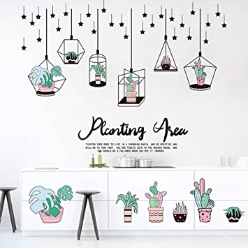 Cactus Bonsai Window Decal Cartoon Plants Hanging Flower Potted Wall Stickers