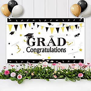 "KUUQA Graduation Party Banner 71"" x 40"", Congratulations Party Wall Banner with Tissue Paper Pom Poms and Party Balloons for 2018 Congrats Grad Decoration Party Supplies"