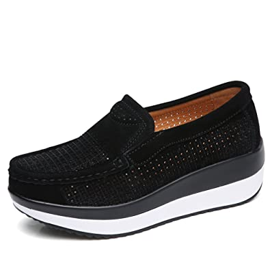 Womens Collegiate Casual Slip on Loafers Flats Platform Round Toe Sports Sneaker