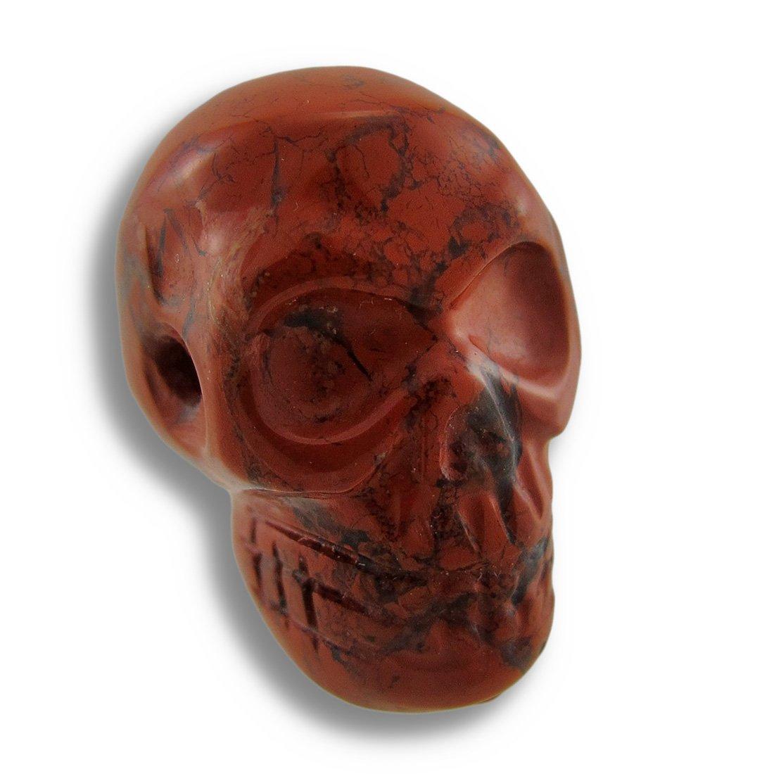 Things2Die4 Acrylic Loose Gemstones Brecciated Jasper Carved Gemstone Skull Pendant 25Mm 1 Inch Red