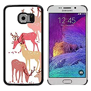 FECELL CITY // Duro Aluminio Pegatina PC Caso decorativo Funda Carcasa de Protección para Samsung Galaxy S6 EDGE SM-G925 // Deer Art Forest Animal Autumn Pack