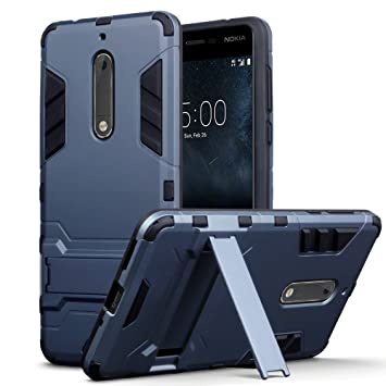 TERRAPIN Funda para Nokia 5 Carcasa Híbrida de Silicona + Polycarbonato Doble Resistencia, y Soporte para Mesa - Azul Oscuro