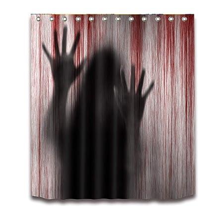 Cortina de Ducha Bloody Handprints Creepy Halloween 3D Impreso ...