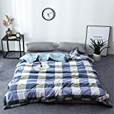 RFVBNM Brief Japan Style Washed Cotton Summer Quilt Air Condition Blanket Super Soft Plaid Adult Children Comforter Bed Cover Home Use,blue 200230cm