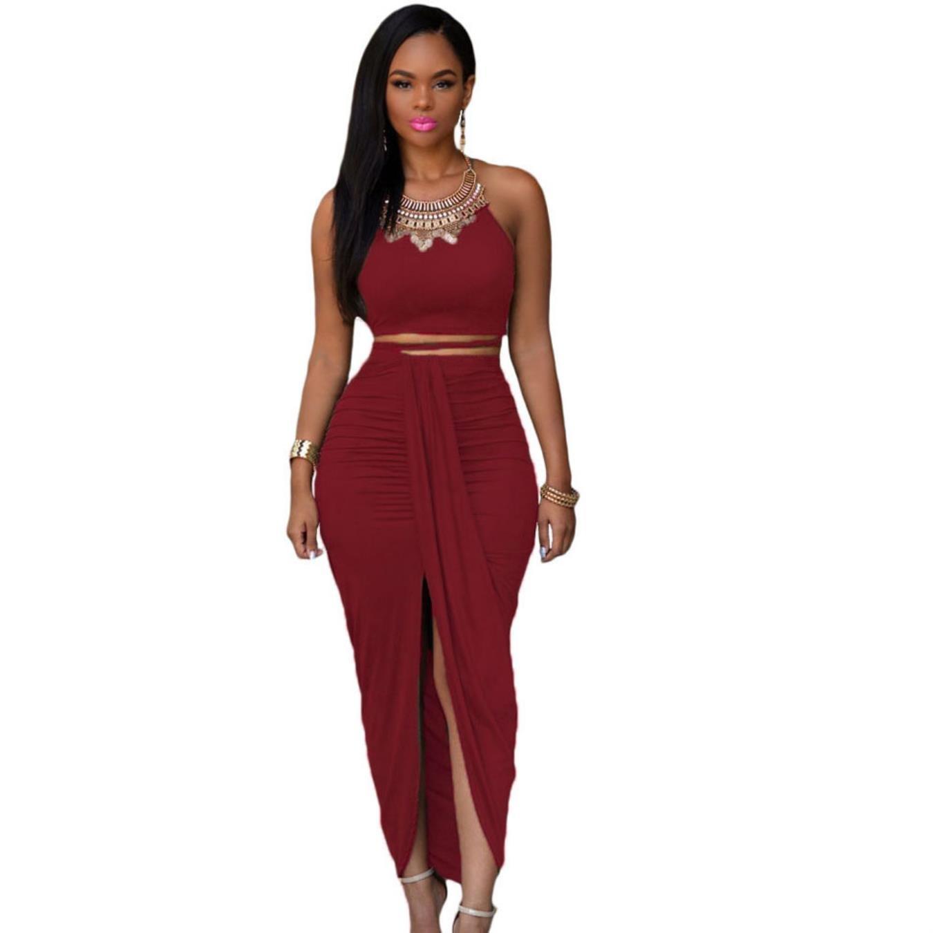 cbce95871458 JESRKAS Women Two Piece Maxi Dress 2018 Summer Slit Draped Long Dress Club  Party Bodycon Sexy Dresses at Amazon Women s Clothing store