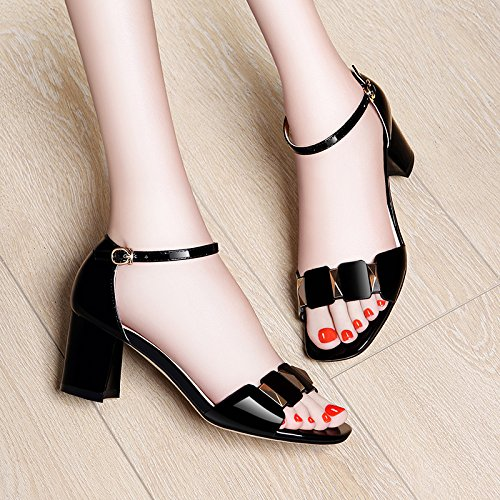 HGTYU-In The Summer With Coarse Sandals Female Fish Mouth Tide Toe High Heeled Shoes All Match 6.5Cm Sandals Bright Surface Black 2RVNJXjM1