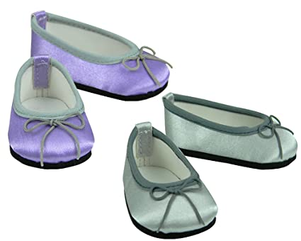 c450275e04bd3 18 Inch Doll Dress Shoes| Purple Shoes, Silver Shoes, 2 Pair Set Fits 18  Inch American Girl Dolls |Dress Satin Slip on Doll Shoes, 1 Lavender 1 Pr.  ...