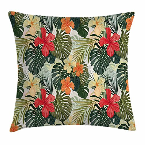 Ambesonne Leaf Throw Pillow Cushion Cover by, Hawaiian Summer Tropical Island Vegetation Leaves with Hibiscus Flowers, Decorative Square Accent Pillow Case, 16 X 16 Inches, Green Orange and Yellow
