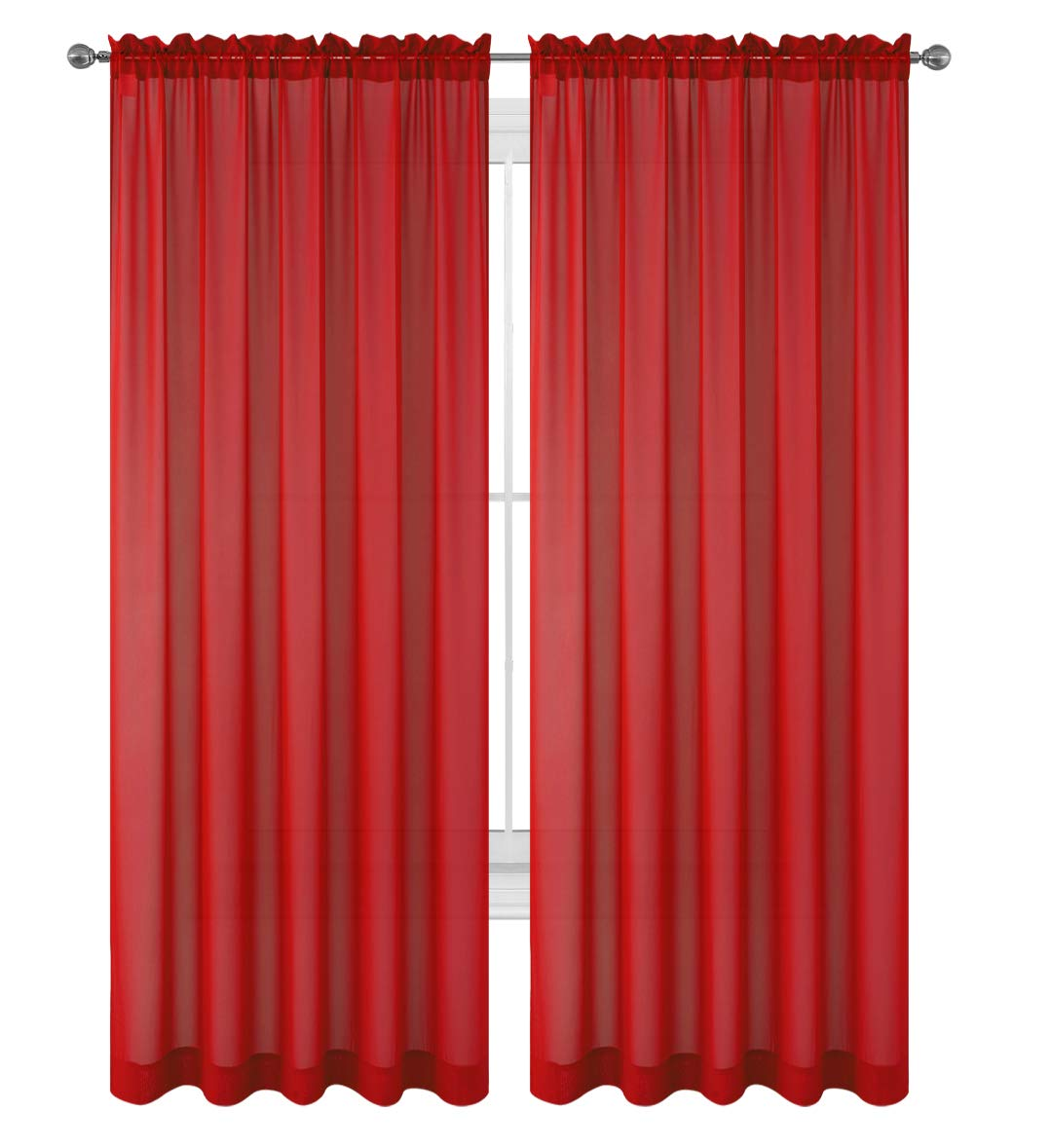 "Drape/Panels/Treatment Beautiful Sheer Voile Window Elegance Curtains for Bedroom & Kitchen, 57"" inch x 84"" inch, Set of 2 (Red)"