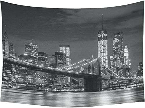 INTERESTPRINT Cityscape Wall Art Home Decor, Brooklyn Bridge and New York Skyline at Night,Black and White Tapestry Wall Hanging Art Sets 80 X 60 Inches