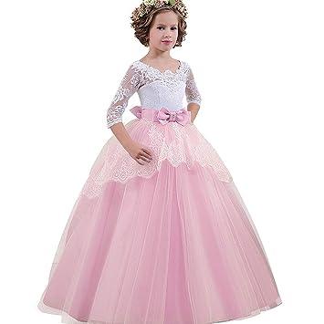 Vestido de fiesta para niñas, vestido de boda de princesa con bordado de bola para