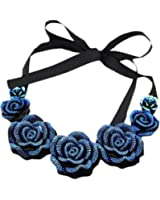 Blue Rose Fake Collar Retro Ribbon Women's Clothing Decoration