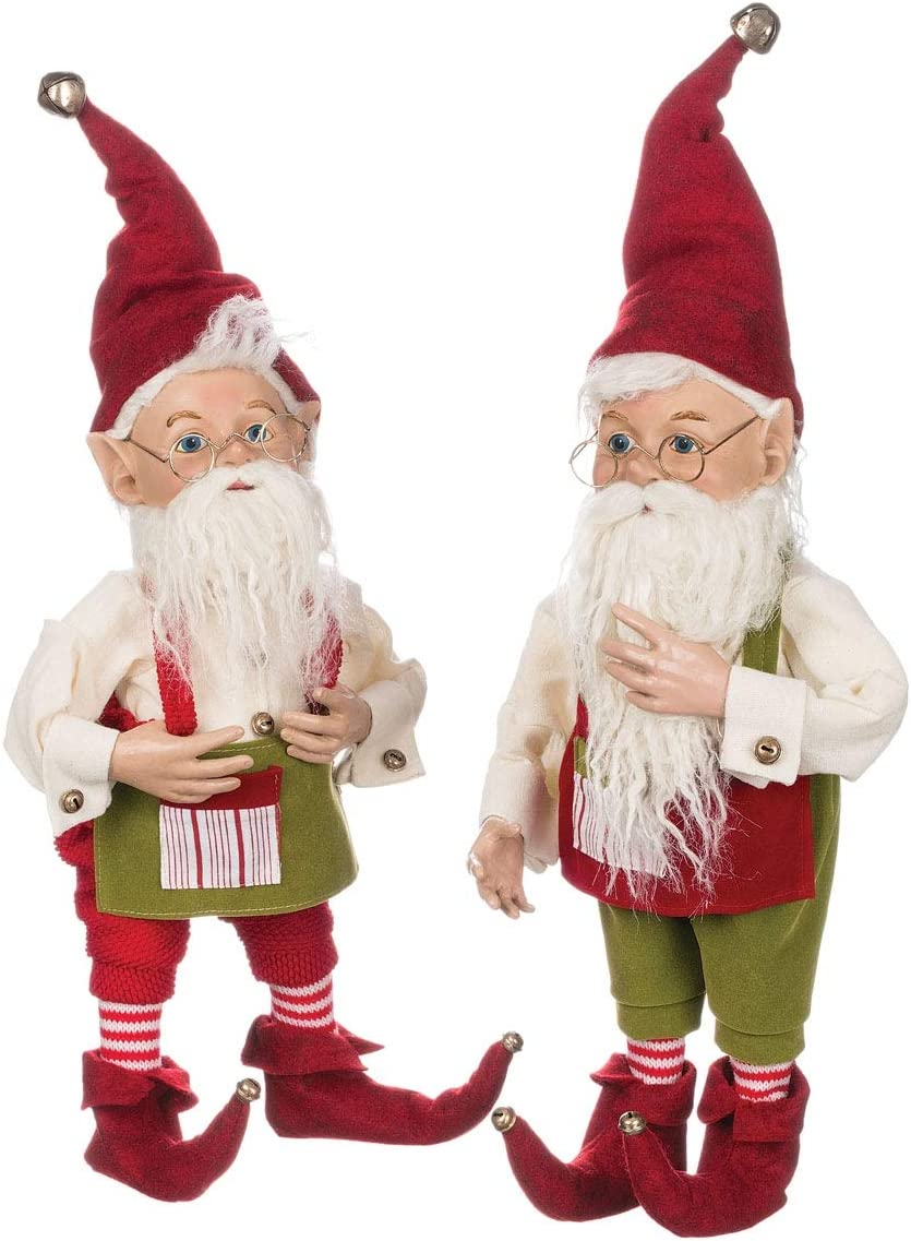 Sullivans Christmas Elf Figurines, Classic Red and Green Elves, 18 Tall, Red and Green, Set of 2 PN2350